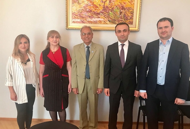 President ECOSF meeting with Deputy Head of Humanitarian and Social Department of Foreign Affairs of Azerbaijan (2nd right) and his team (May 2018)