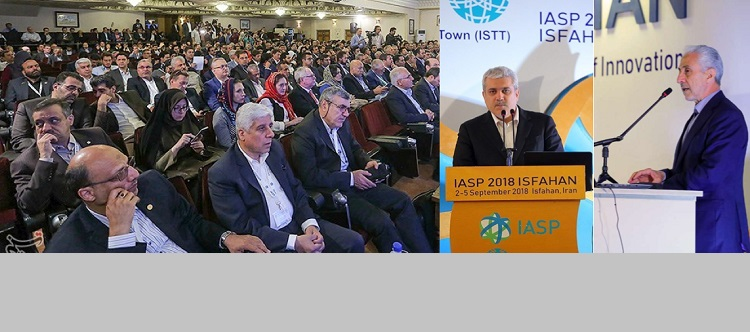 Dr. Sorena Sattari, the Vice President for S&T of Iran and Dr. Mansour Gholami, the Minister of Science, Research and Technology of Iran addressed the participants of the 35th World Conference on Science Parks in Isfahan, Iran on September 2, 2018