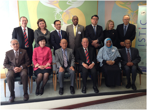 President ECOSF (sitting left) along with the other Members of ISTIC Governing Board from all continents during the 9th Board Meeting held at Paris on 6 April 2016.