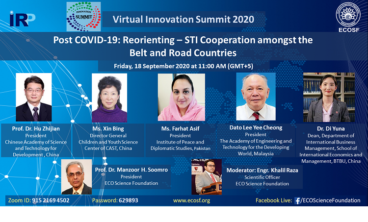 ECOSF in collaboration with IRP organized a webinar onPost COVID-19: Reorienting – STI Cooperation amongst the Belt and Road Countries (Sept. 18, 2020)