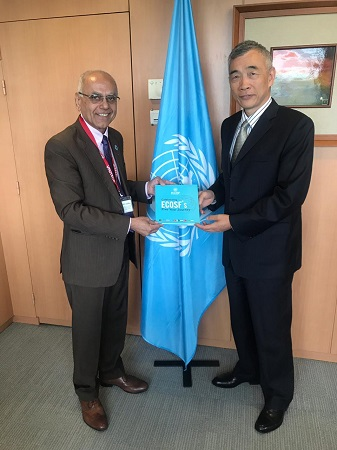 Professor Soomro presenting to Deputy DG UNESCO Prof. Xing QU the book of Five Years Journey of ECOSF at UNESCO HQs Paris (June 19, 2019)