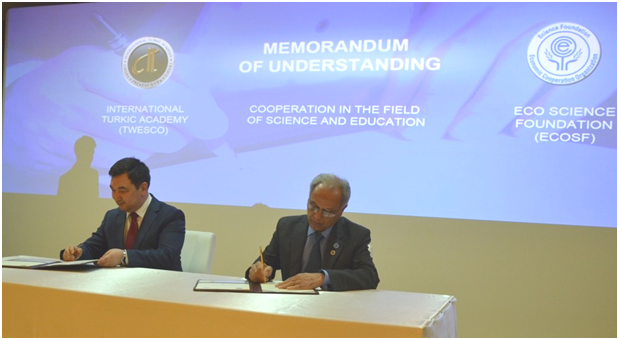 President ECOSF Prof. Dr. Manzoor H. Soomro and President  TWESCO, Dr. Darkhan Kydyrali sign MoU for Cooporation/Collaboration on 23 May 2016 at Astana, Kazakhstan