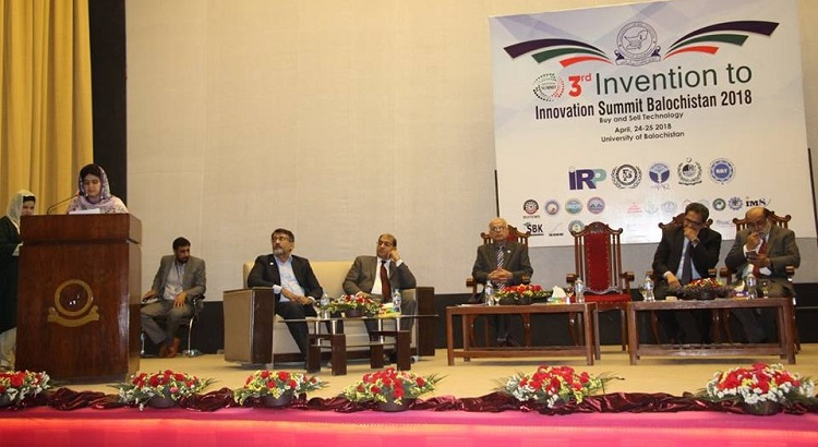 Speaker Balochistan Assembly delivering her remarks during 3rd Invention to Innovation Summit 2018 held at University of Balochistan. The summit has been supported by ECOSF (April 24-25 2018)