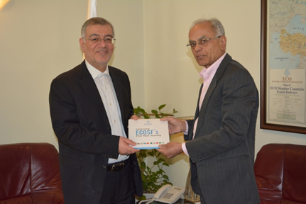 President ECOSF (right) presenting Five Year Activities Report of ECOSF to the Secretary General of ECO H.E. Dr. Hadi Soleimanpour at ECO Secretariat - Tehran (Feb. 4, 2019)